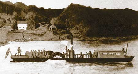 This artist's sketch is of the Codorus. In 1826, the Codorus — America's first iron-hulled steamboat — safely navigated the Susquehanna River on its maiden voyage between Harrisburg and Binghamton, New York.