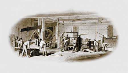 Created for and printed on Bank of Chester Valley notes about 1857, this illustration is  the earliest known image showing the inside workings of the Brandywine Iron Works & Nail Factory.