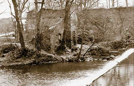 Today, only the dam, millrace and stone ruins remain of the Federal Slitting Mill.
