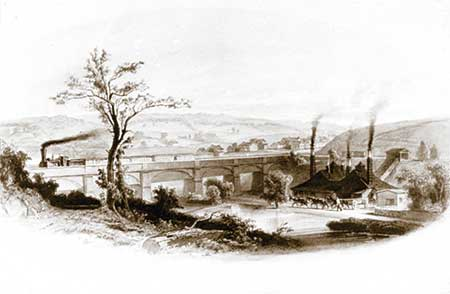 Opened in 1834, the first railroad bridge (the high bridge) provided Coatesville businesses access to western-Pennsylvania markets and beyond.