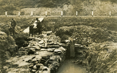 "Excavation of the ""Upper Forge"" in 1929. Chester County Historical Society"
