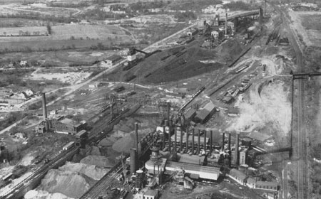 Blast Furnaces, foreground, and Coke Plant, background, c1962 National Iron & Steel Heritage Museum