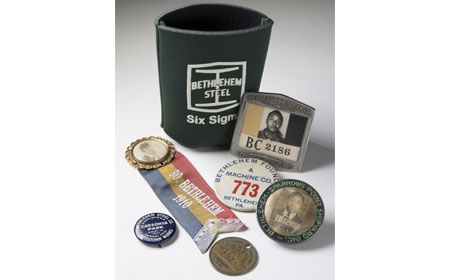 Six Sigma Drink Cozy, Badges and Ribbon from Bethlehem Steel Subsidiaries, , From the collection of NISHM