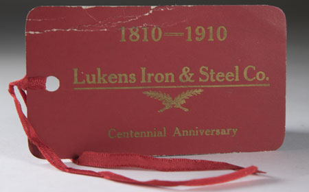 Paper Lukens Centennial Celebration Tag, From the collection of NISHM