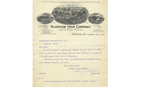November 4, 1916 letter from Glasgow Iron Company to Laubenstein Company of Ashland, PA thanking them for the order of