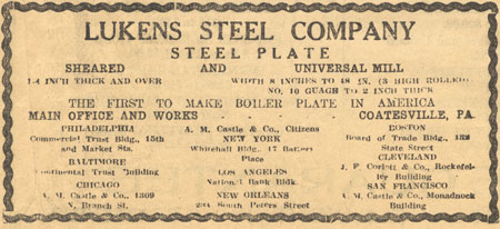 This advertisement shows the products Lukens was manufacturing at the time. — From the collection of Bob Ford