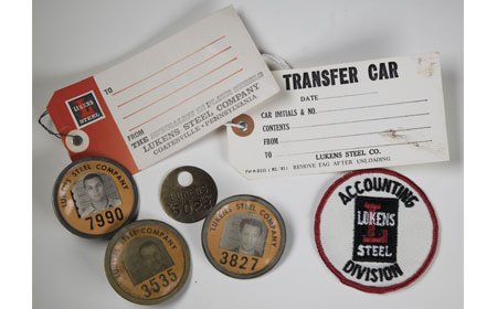Lukens Steel Tag, Transfer Car Tag, Machine Shop Time Check Badge, Employee Badges, & Accounting Division PatchFrom the collection of NISHM
