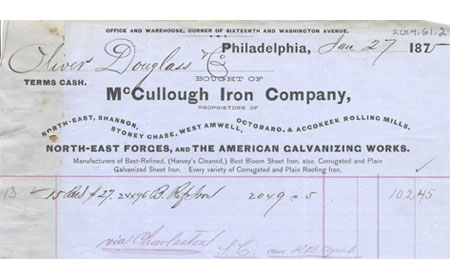 January 27, 1875 McCllough Iron Company Receipt, From the collection of NISHM