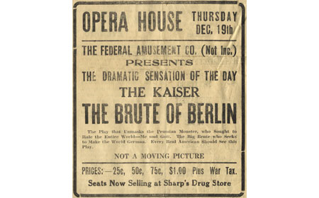 Advertisement for a theatrical production held in downtown Coatesville with World War I as the subject matter — From the collection of Bob Ford