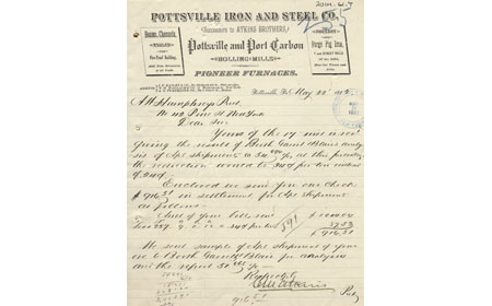 May 22, 1882 letter from Pottsville Iron & Steel Company, From the collection of NISHM