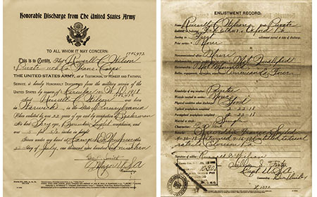 Discharge Papers — Private Russell C. Wilson enliisted in the United States Army on February 6, 1918. After serving a year and a half with the American Expeditionary Force, Russell was honorably discharged on July 22, 1919. — Courtesy of Bob Ford
